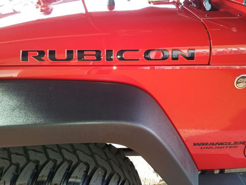 RUBICON DECALS (3D) DOMED STICKERS VINYL FOR JK HOOD BOTH SIDES JEEP