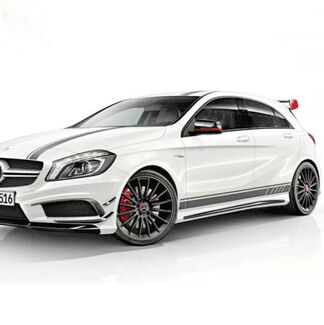 Full kits auto side skirt car sticker & car hood roof racing stripe for Mercedes-Benz