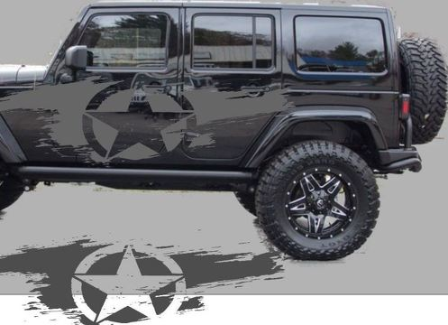 Distressed star side body decal kit to fit jeep wrangler style