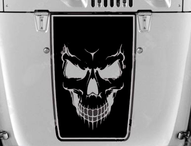 Hood Blackout Skull Evil Vinyl Decal fits Jeep Wrangler JK TJ LJ