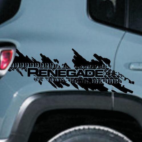 Jeep Renegade Distressed Tire Splash Grafik Vinyl Aufkleber Aufkleber Seite Chrom
