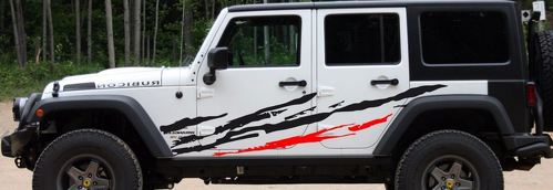 Scratch, rip, tear, rip tied decal set. 1 or 2 color. Universal fits Jeep JK XJ