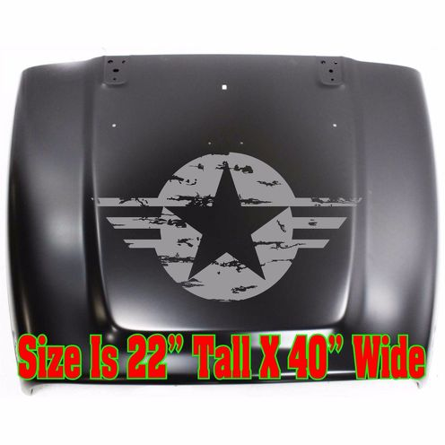 HOOD USMC US Army USAF Star Veteran Distressed (cut) Decal Sticker USA Seller
