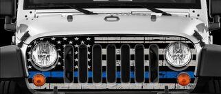 Dünne blaue Linie, Wickel, Vinyl, Hautaufkleber für Jeep Wrangler