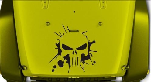 Jeep Wrangler Splash Punisher vinyl hood decal JK JKU LJ TJ 23 X 23