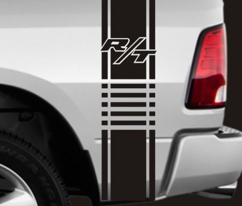 2 TRUCK BEDSIDE DODGE RAM RT VINYL STRIPES RACING DECALS APPROX 11  X 40  Each