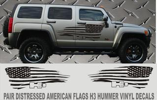 H3 HUMMER DISTRESSED AMERICAN FLAG VINYL DECALS 2 PIECE SET H3 HUMMER TRUCKS