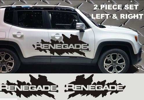 JEEP RENEGADE SIDES VINYL DECALS 2015 2016 GRAPHICS 2 PIECE SET LEFT RIGHT