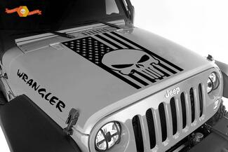 Jeep Wrangler Blackout Punisher American Flag 3 pc set vinyl hood decals JK JKU