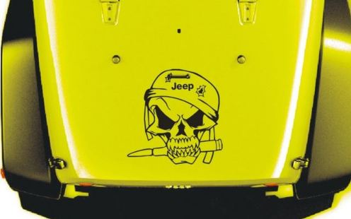 Jeep Wrangler Military Soldier Skull Vinyl Hood Decal TJ LJ JK 23  X 23