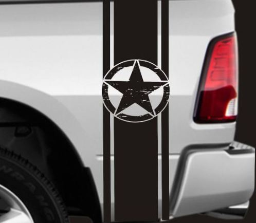 2 TRUCK BEDSIDE VINYL STRIPES DECALS DISTRESSED STARS RAM FORD GMC CHEVY F150