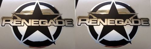 2 JEEP RENEGADE VINYL DECALS 7.25  X 5.5  MATTE BLACK-MIRROR CHROME 2015 2016