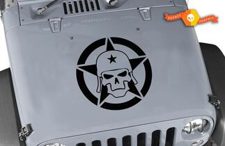 Jeep Wrangler ARMY SKULL Military Star Vinyl Hood Decal TJ LJ JK 23 X 23