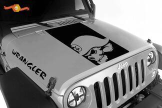 Jeep Wrangler Blackout Metall Mulisha Kopf 3-teiliges Set Vinyl Haube Aufkleber JK JKU LJ