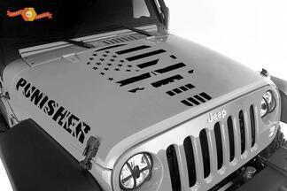 Jeep Wrangler Der Punisher 3-teiliges Set Vinyl Hauben Kotflügel Aufkleber JK JKU LJ TJ