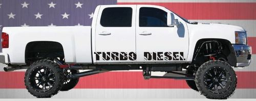 2 TURBO DIESEL ROCKER PANEL VINYL DECALS GMC CHEVY FORD SUPERDUTY DIESEL TRUCKS