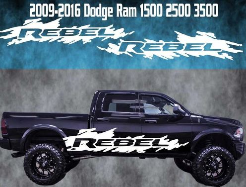 2009-2016 Dodge Ram Rebel Vinyl Decal Graphic Racing Rebel 4x4 Truck Stripe
