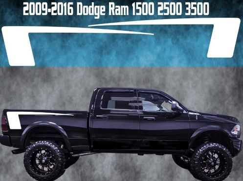 2009-2016 Dodge Ram Quarter Vinyl Decal Graphic Truck Bed Stripes Hemi Hockey