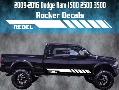 2009-2016 Dodge Ram Rocker Stripe Vinyl Decal Graphic Racing 1500 2500 Rebel
