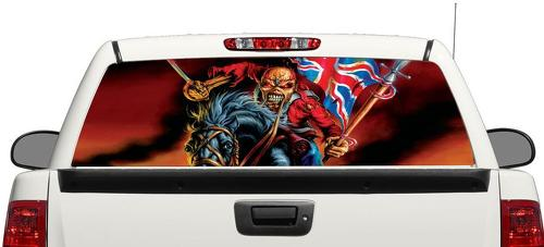 Iron Maiden Eddie British Flag Rear Window Decal Sticker Pick-up Truck SUV Car