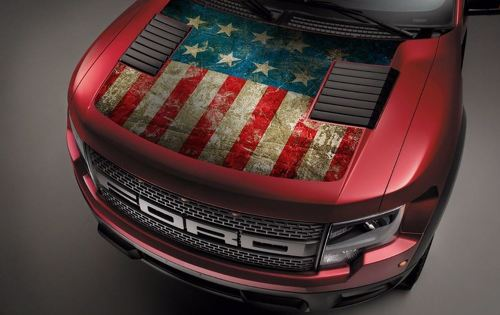 Ford Raptor F-150 Hood Graphics USA Flag 2 Vinyl Decal