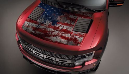 Ford Raptor F-150 Hood Graphics USA Flag Vinyl Decal
