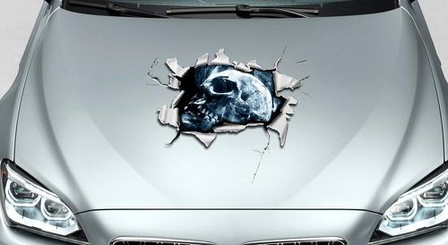 Skull hole in Hood tears rip ripped Graphics Decal Sticker Pick-up Truck SUV Car