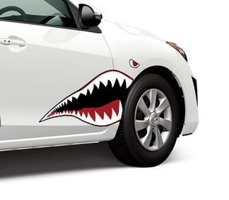 Warhawk Flying Tiger Shark Teeth Vinyl Graphics Decal Sticker fits any sedan car