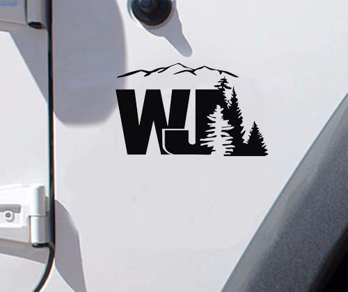 2 of Jeep WJ Design Decal Wrangler Decals Stickers Logo pick color.