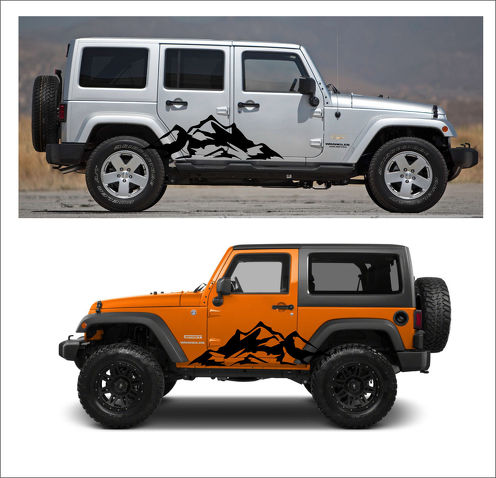 2pcs MOUNTAIN Fender Side Decal Sets Graphic JEEP WRANGLER RUBICON SAHARA n1