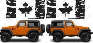 (2) Flagge von Kanada Grunge Maple Leaf Distressed Vinyl Decals passt: Jeep Wrangler