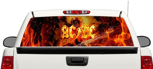 AC DC Rock fire Rear Window Decal Sticker Pick-up Truck SUV Car 3