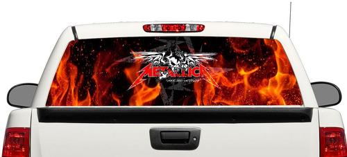 Metallica Rock fire Rear Window Decal Sticker Pick-up Truck SUV Car 3
