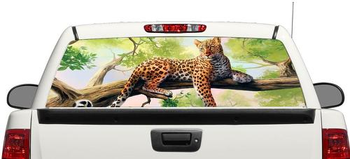 Leopard wild art Rear Window Decal Sticker Pick-up Truck SUV Car 3