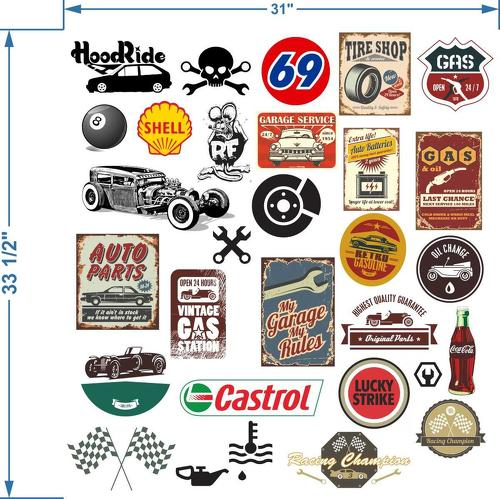 Automobile themed rat look sticker bomb decals art funny shell castrol