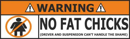 No fat chicks WARNING sticker bomb decals art funny shell castrol