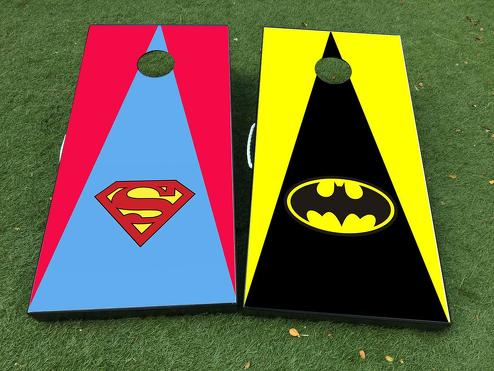 batman vs. superman DC Comics Cornhole Board Game Decal VINYL WRAPS with LAMINATED