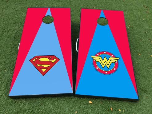 Superman vs wonder woman DC Comics Cornhole Board Game Decal VINYL WRAPS with LAMINATED