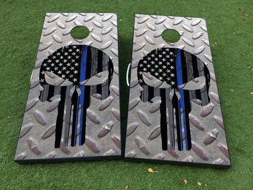 Punisher skull steel Cornhole Board Game Decal VINYL WRAPS with LAMINATED