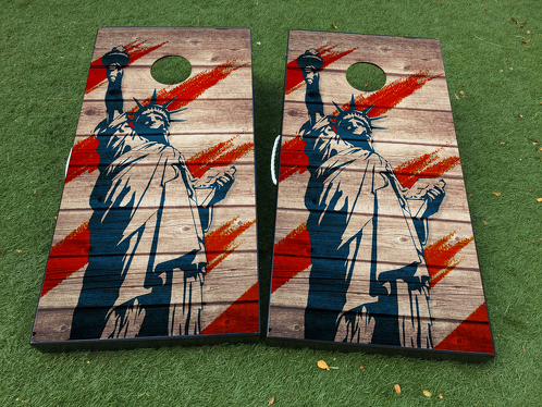 Statue of Liberty USA America Cornhole Board Game Decal VINYL WRAPS with LAMINATED