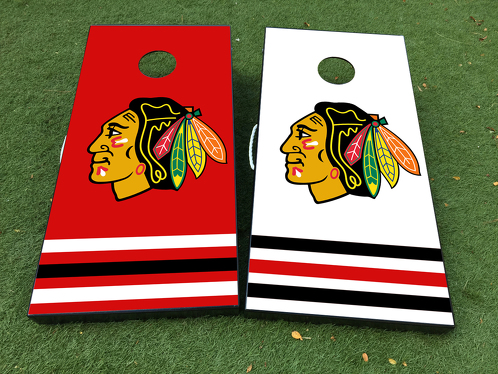 Chicago Blackhawks Cornhole Board Game Decal VINYL WRAPS with LAMINATED
