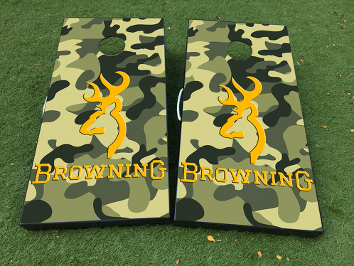 Browning Camo Deer Cornhole Board Game Decal VINYL WRAPS with LAMINATED