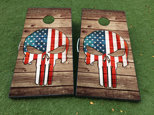 Punisher Skull USA flag Cornhole Board Game Decal VINYL WRAPS with LAMINATED