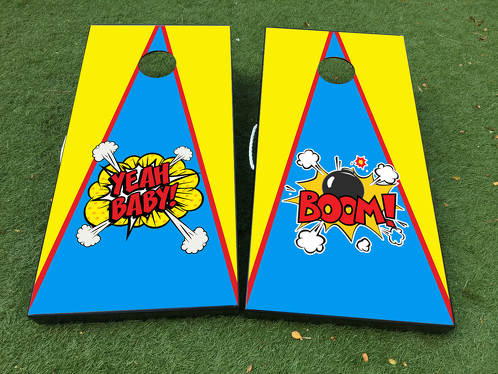 Pop Art BANG Cornhole Board Game Decal VINYL WRAPS with LAMINATED