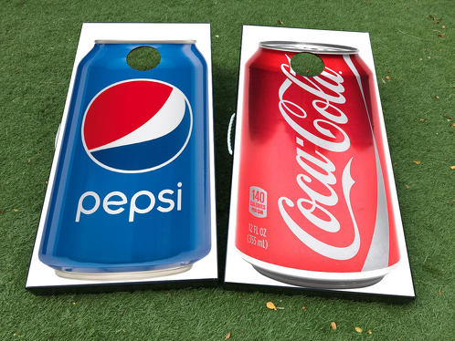 Coca Cola Pepsi Cornhole Board Game Decal VINYL WRAPS with LAMINATED