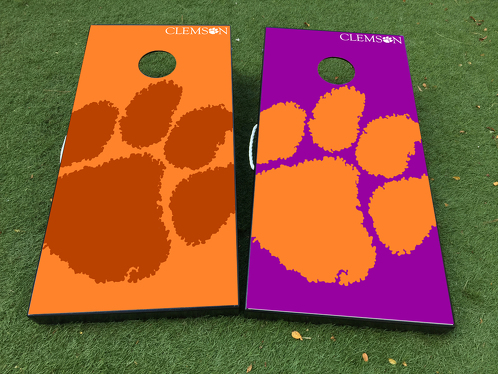Clemson University Tigers Cornhole Board Game Decal VINYL WRAPS with LAMINATED