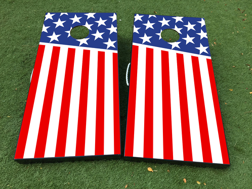 American Flag USA Cornhole Board Game Decal VINYL WRAPS with LAMINATED