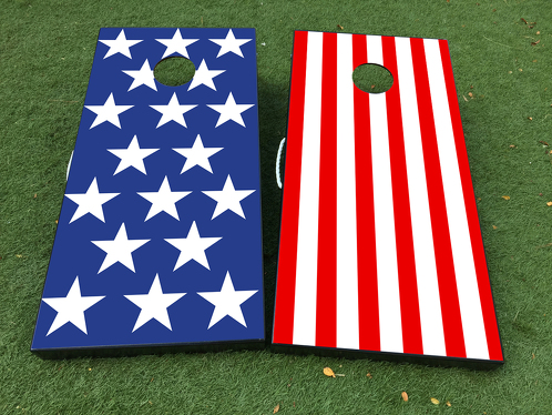 American Flag USA 2 Cornhole Board Game Decal VINYL WRAPS with LAMINATED