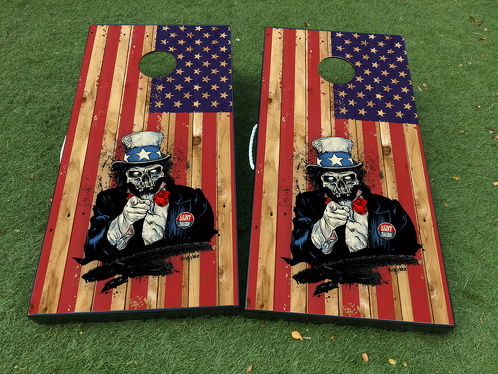 Uncle Sam zombie American flag USA  Cornhole Board Game Decal VINYL WRAPS with LAMINATED