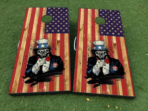 Onkel Sam Zombie amerikanische Flagge USA Cornhole Brettspiel Aufkleber VINYL WRAPS mit LAMINIERT
